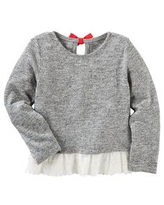 Kid Girl Eyelet-Hem Sweater from OshKosh B'gosh. Shop clothing & accessories from a trusted name in kids, toddlers, and baby clothes.