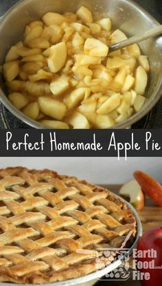 Who doesn't love a good rustic homemade apple pie! With a beautiful lattice top, this homemade apple pie recipe is easy and great for beginner cooks. via pies Old Fashioned Apple Pie Apple Pie Recipe Easy, Homemade Apple Pie Filling, Best Apple Pie, Easy Pie Recipes, Apple Pie Recipes, Baking Recipes, Apple Filling, Apple Pie Crust, Green Apple Pie Recipe