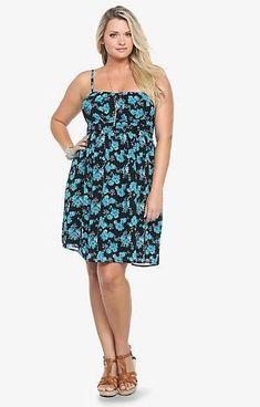 Torrid Strapless floral chiffon sheer dress Black Blue Size 1XL 1002 #Torrid #Casual