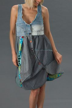 Desigual Circolor Dress as an inspiration for reusing old jeans