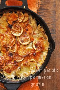 Sweet Potato Parmesan Gratin - A low fat version of au gratin potatoes. And with sweet potatoes, this gratin recipe is high in Vitamin A too. Potato Dishes, Food Dishes, Side Dishes, Food Food, Baker Recipes, Cooking Recipes, Cooking Pasta, Cooking Fish, Great Recipes