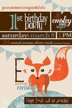 fabulous fox birthday party invitation - DIGITAL FILE, customizeable