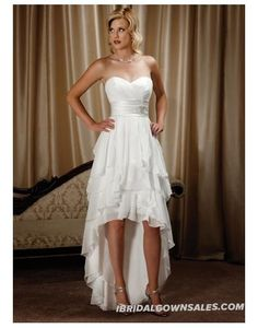 Elegant Chiffon Sweetheart Tiers Ruffle High Low Wedding Dress | Chiffon Wedding Gowns UK with High Quality