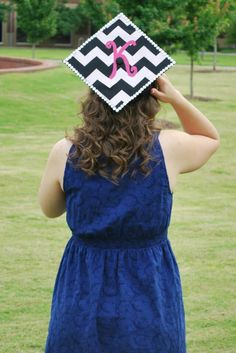Decorated graduation cap. Rhinestones, chevron, monogram.