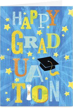 Shining Graduation Cap Graduation Congratulations Card