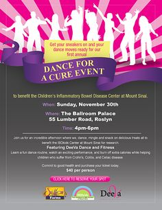 Get out of the house after a long Thanksgiving weekend and dance with us! Learn a fun routine, watch some breakdancing, enjoy some healthy snacks and bid on awesome raffle prizes! We can't wait to see you there!: The Ballroom Palace, 55 Lumber Road, Roslyn