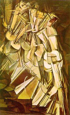 """Les mouvements dans la peinture - Le futurisme. """"Naakt de trap afdalend""""van Marcel Duchamp. De hele beweging/ dynamiek is vastgelegd in dit schilderij."""