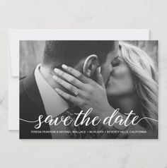 "Customize with your own photo on this ""Save the Date"" wedding flat card. Announce your engagement, personalize the text with your upcoming wedding details. Congratulations! A black overlay behind the text allows for better readability with your choice of photo. Save The Date Photos, Save The Date Postcards, Photo Postcards, Modern Wedding Theme, Wedding Trends, Wedding Ideas, Elegant Wedding, Wedding Stuff, Wedding Photography Checklist"