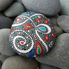 Painted rocks diy - Pretty painted rock paint rocks with BSU colors – Painted rocks diy Pebble Painting, Dot Painting, Pebble Art, Stone Painting, Stone Crafts, Rock Crafts, Arts And Crafts, Art Pierre, Posca Art
