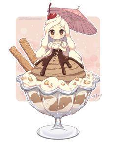 Ice Cream chibi by on deviantART Manga Kawaii, Arte Do Kawaii, Kawaii Chibi, Kawaii Art, Manga Anime, Anime Art, Cute Food Drawings, Kawaii Drawings, Chibi Food