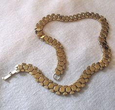 Circa 1944 REINAD Signed Gold Tone Chain Link Necklace Serpent