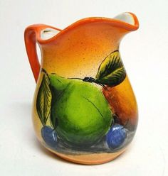 Vintage H Venegas Pitcher Orange Fruit Hand Painted Mexico Stoneware Pear Grapes