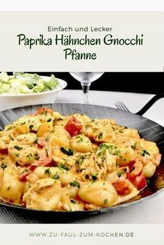 Paprika Chicken Gnocchi Pan - Too Lazy To Cook? - Fast finish with spicy chicken and gnocchi in a creamy sauce - Sauce Recipes, Pasta Recipes, Crockpot Recipes, Dinner Recipes, Cooking Recipes, Gnocchi Recipes, Cauliflower Recipes, Healthy Chicken Recipes, Vegetarian Recipes