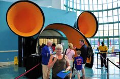 Exiting the Disney Cruise Ship Terminal and preparing to board the Disney Magic, bound for Europe, through the Disney 'Ventilator'. Port Canaveral, Florida.