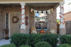 Fall Front Porch Decorating Ideas |  ~ need to make me a burlap fall banner!