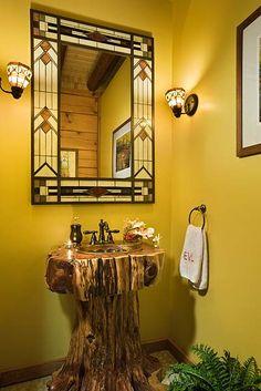 Rustic cedar log vanity