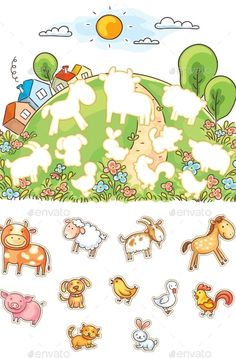 Buy Animals and Their Shapes Matching Game by katya_dav on GraphicRiver. Animals and their shapes matching game, colorful cartoon Toddler Learning Activities, Infant Activities, Preschool Activities, Teaching Kids, Activities For Kids, Animal Activities, Animal Matching Game, Matching Games, Papercraft Anime