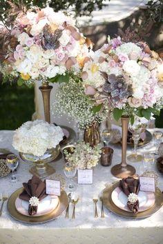 Elegant Chic Copper Fall Wedding Table