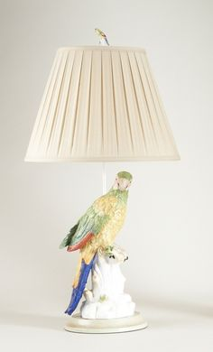 """FineHomeLamps.com - Meissen Macaw Porcelain Table Lamp Left by Chelsea House - 33"""", $621.00 another possibility in pairs to flank chippendale pagoda mirror in new den"""