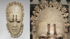 The African mask owned by the King of Benin, with a detailed view of the top of the crown