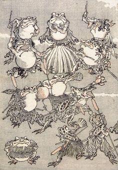 Japanese Ukiyo-e: Frog samurai. Kawanabe Kyōsai. 1800's