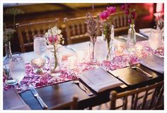 like the little flowers instead of huge arrangements. Maybe something like this for the long rehearsal dinner tables.