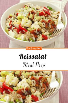 Reissalat mit Tomaten und Paprika Rice salad with tomatoes and peppers – smarter – calories: 400 kcal – time: 25 min. Salad Recipes Healthy Lunch, Salad Recipes For Dinner, Chicken Salad Recipes, Easy Healthy Recipes, Vegetarian Recipes, Salads For A Crowd, Easy Salads, Feta, Creamy Cucumber Salad