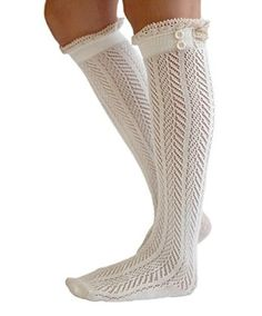 Lace Boot Socks Knee High Socks Ruffled Lace Trim & Buttons Leg Warmers for Boots (White) for only $5.45! That's 50% off the regular price.