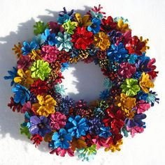 Handmade Natural Colorful Rainbow Pine Cone Wreath by EacArt
