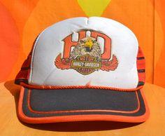 vintage 70s HARLEY davidson hat mesh trucker snapback baseball cap biker  eagle stripe 80s f446c14ccfc4