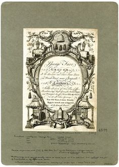 Trade card for George Farr, grocer, at the Bee-hive and Three Sugar Loaves in Wood Street near Cheapside, London; ornate lettered cartouche surmounted by the shop sign and items of produce, and supported by two scenes, 'The Spanish snuff mill', a horse pulling a mill-stone, 'The Scotch mull', a man pounding or stirring in a shallow bowl with a long spoon. Etching and engraving
