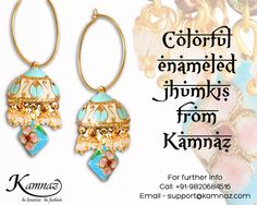 Colorful enameled jhumkis from Kamnaz for prices contact support@kamnaz.com | +91-9820684516 #earrings #jhumkis #ecommerce #chicn #handmadejewellery #indochicjewellery #designerjewellery #fashionjewellery #jewelry #mumbai #fashion #exclusive #casual #lightweight #hoops #kamnaz #accessory #women #instafashion #instalook #handmade