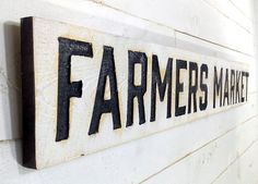 """FARMERS MARKET Sign Horizontal 55""""x8""""- Carved in a Cypress Board, Rustic Distressed Shop Advertisement Farmhouse Style Wooden Wood Garden Gift Produce Vegetable Tomatoes"""
