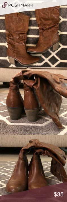 Boots Brown leather boots. Size 10. l.e.i. Shoes Heeled Boots