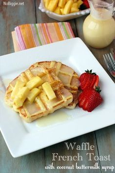 Waffled French Toast with Coconut Buttermilk Syrup recipe from No Biggie; featured in What will you waffle? slideshow from Gooseberry Patch