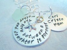 Mother Daughter Necklace, Mommy Necklace, Sterling Silver Starfish And Sea Glass Jewelry