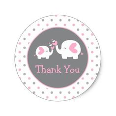 Pink and White Elephant Thank You Classic Round Sticker - baby shower ideas party babies newborn gifts
