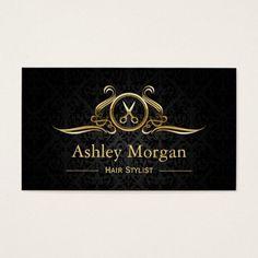 Tesouras do luxo do ouro do salão de beleza do cartão de visita