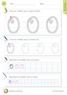 Feuille d ecriture pour apprendre à écrire la lettre O MAJUSCULE en cursive - Le O majuscule cursive décrit un rond comme le o minuscule, mais...