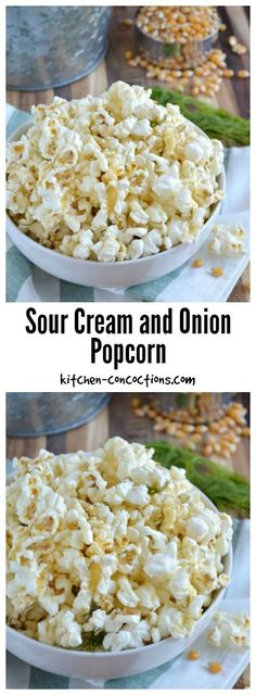 Sour Cream and Onion Popcorn Recipe - Popcorn is a tasty and delicious snack! Dress up air popped or microwave popcorn with this flavorful homemade Sour Cream and Onion Popcorn and serve it for your next family movie night or game night in with friends. Gourmet Popcorn, Popcorn Snacks, Microwave Popcorn, Popcorn Shop, Popcorn Mix, Popcorn Bowl, Scooby Snacks, Popcorn Maker, Healthy Movie Snacks