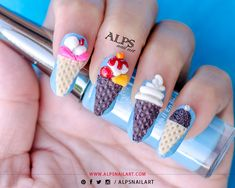 3D Ice Cream Nail Art by @alpsnailart ...July is National Ice cream Month and 3rd Sunday being #Icecreamday we celebrated ice cream day on 20th July. Sharing here one of my fav. #Icecreamnailart. Have sweet and cool day…  www.alpsnailart.com IG/ Pin / Twitter : alpsnailart  #nailart #icecreamnailart #icecreamnails