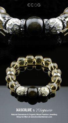 ♂ Unique Fashion Jewelry for Men - Elegant design tourmaline citrine natural gemstone fashion bracelet