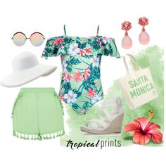 Swimsuits tropical prints by balmzzz on Polyvore featuring moda, River Island, Carvela Kurt Geiger, Sisters of Los Angeles, Eric Javits and Topshop
