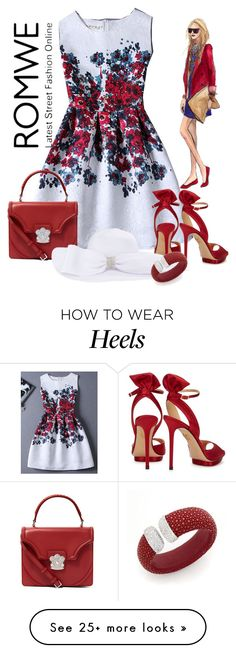 """""""Romwe floral jaquard red a line dress"""" by lorrainekeenan on Polyvore featuring Charlotte Olympia and Alexander McQueen"""