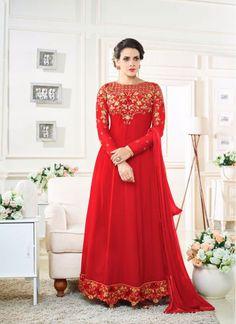 Customary Red Georgette Designer Floor touch Anarkali suit