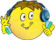 Cheerful Yellow Smiley Face Emoticon With Arms, Brown Hair and Headphones Giving Thumbs Up Sign #approval #arms #cheerful #computer #content #emotion #expression #eyes #face #feeling #fist #friendly #handgesture #hands #happy #hitchhiker #icon #joyful #like #mood #ok #okay #PDF #signal #smiley #smiling #vectorgraphics #vectors #vectortoons #vectortoons.com