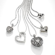 As our company's iconic symbol, the heart symbolizes the love our designers and artisans put into creating everything we make.   From left to right: Mumtaz Small Heart Necklace $68. Cristalina Heart Necklace $78. Ecstatic Heart Reversible Convertible Necklace $88. Alcazar Glam Necklace $72. Knotted Heart Necklace $52.