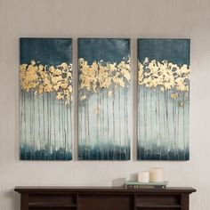 New Madison Park Midnight Forest Gel Coat Canvas with Gold Foil Embellishment piece Set