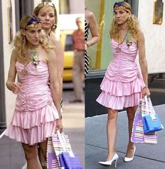 Carrie Bradshaw Best Outfits - Sex and the City Fashion - Marie Claire Carrie Bradshaw Outfits, City Outfits, Fashion Outfits, Fall Outfits, Newspaper Dress, Dress Card, Sweater Refashion, Recycled Fashion, Recycled Clothing