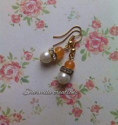 Yellow pearl! #sharmilacreations #beads #handmade #dailywear #earrings #pearl #yellow #jewellery